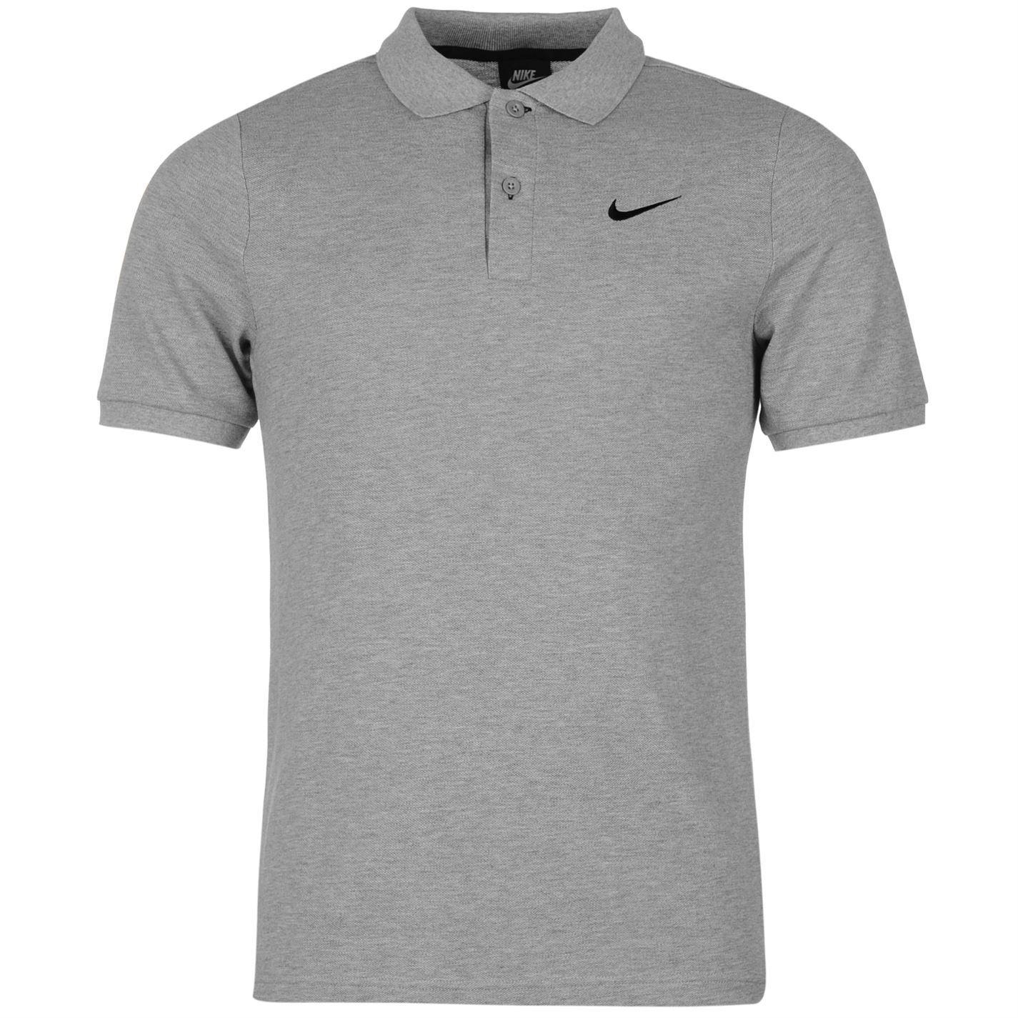 nike pique polo shirt mens grey top t shirt tee ebay