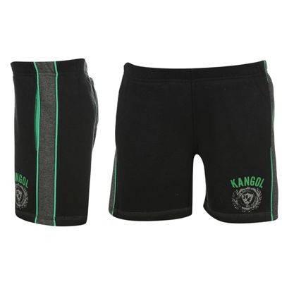 KANGOL-Boys-Green-Black-Casual-Fleece-Shorts