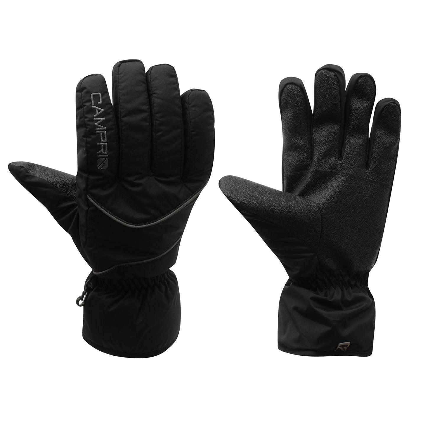 Sport Snow Gloves: CAMPRI SKI GLOVES Mens Black Skiing Snowboarding Winter