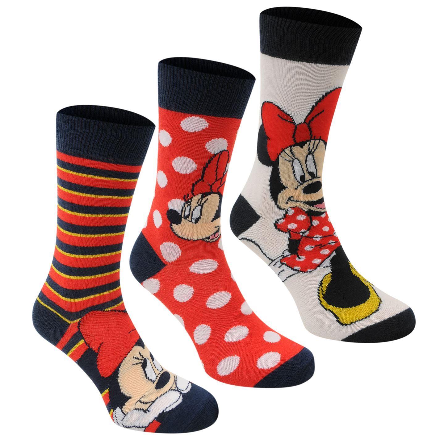 Disney Minnie Mouse Crew Socks 3 Pack Womens Black/Red ...