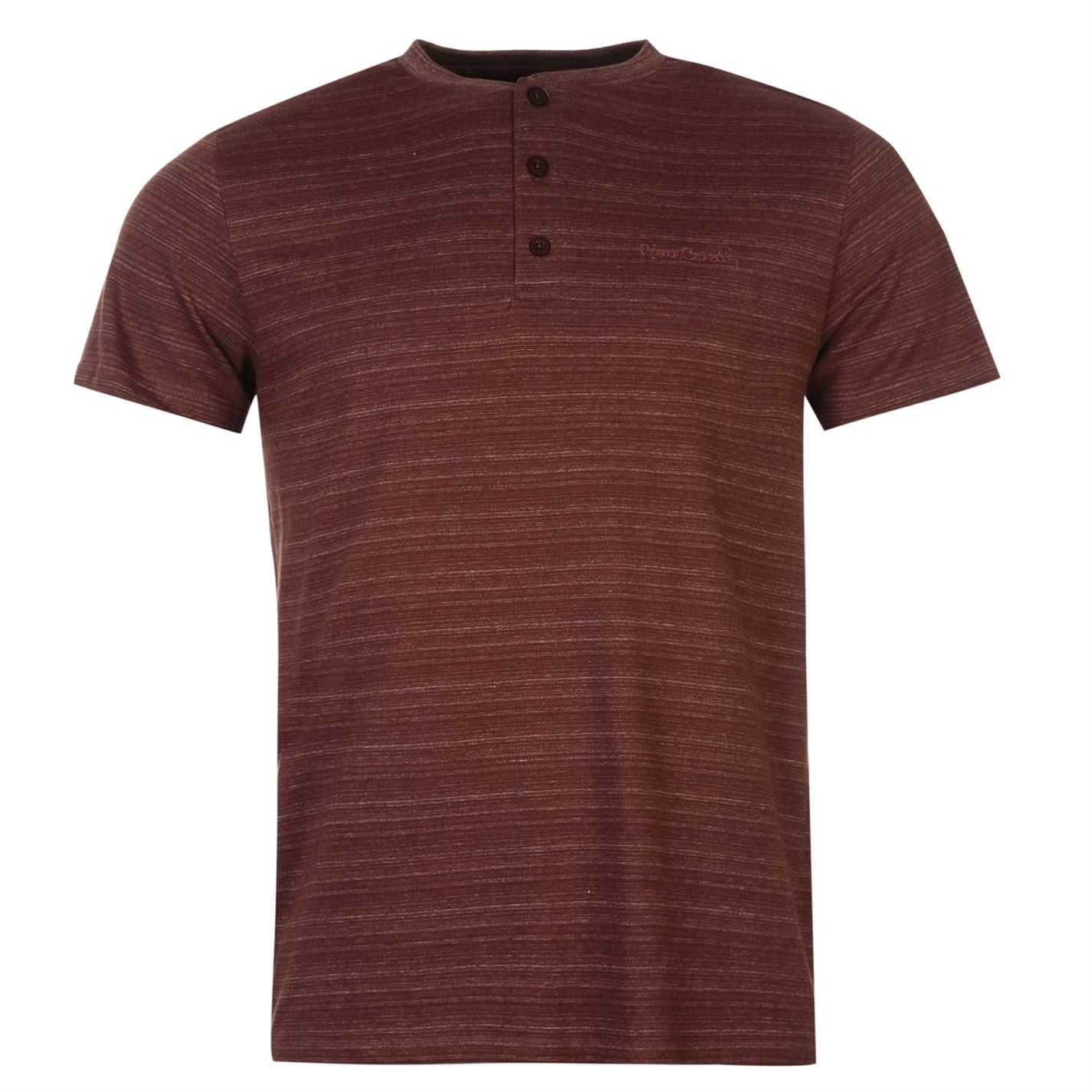 pierre cardin henley t shirt mens burgundy top tee shirt. Black Bedroom Furniture Sets. Home Design Ideas