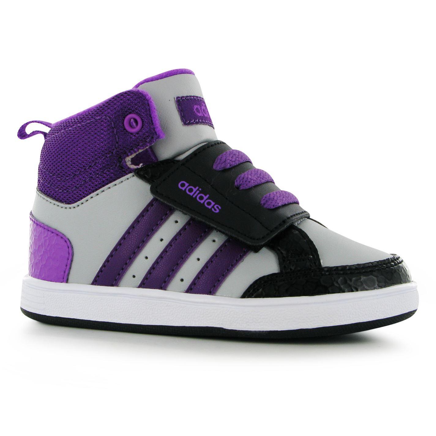 Adidas Hoops Mid Trainers Infant Girls ix Purple Black