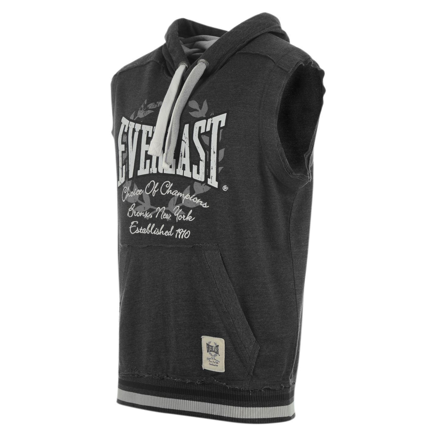 Everlast Boxing Sleeveless Vest Hoody Mens Charcoal Marl Sweatshirt Top