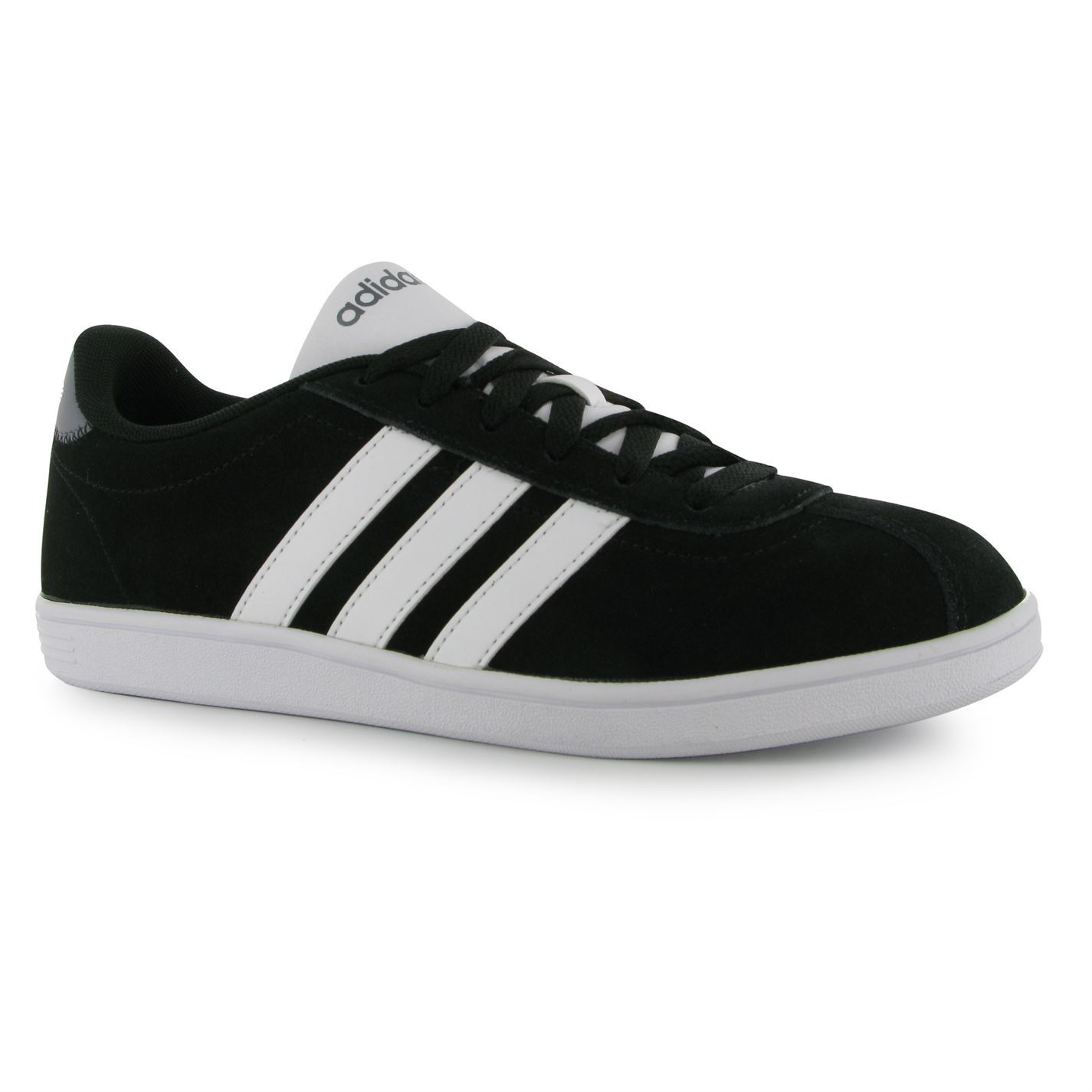 adidas vl court suede mens shoes trainers sneakers sports footwear black white ebay. Black Bedroom Furniture Sets. Home Design Ideas