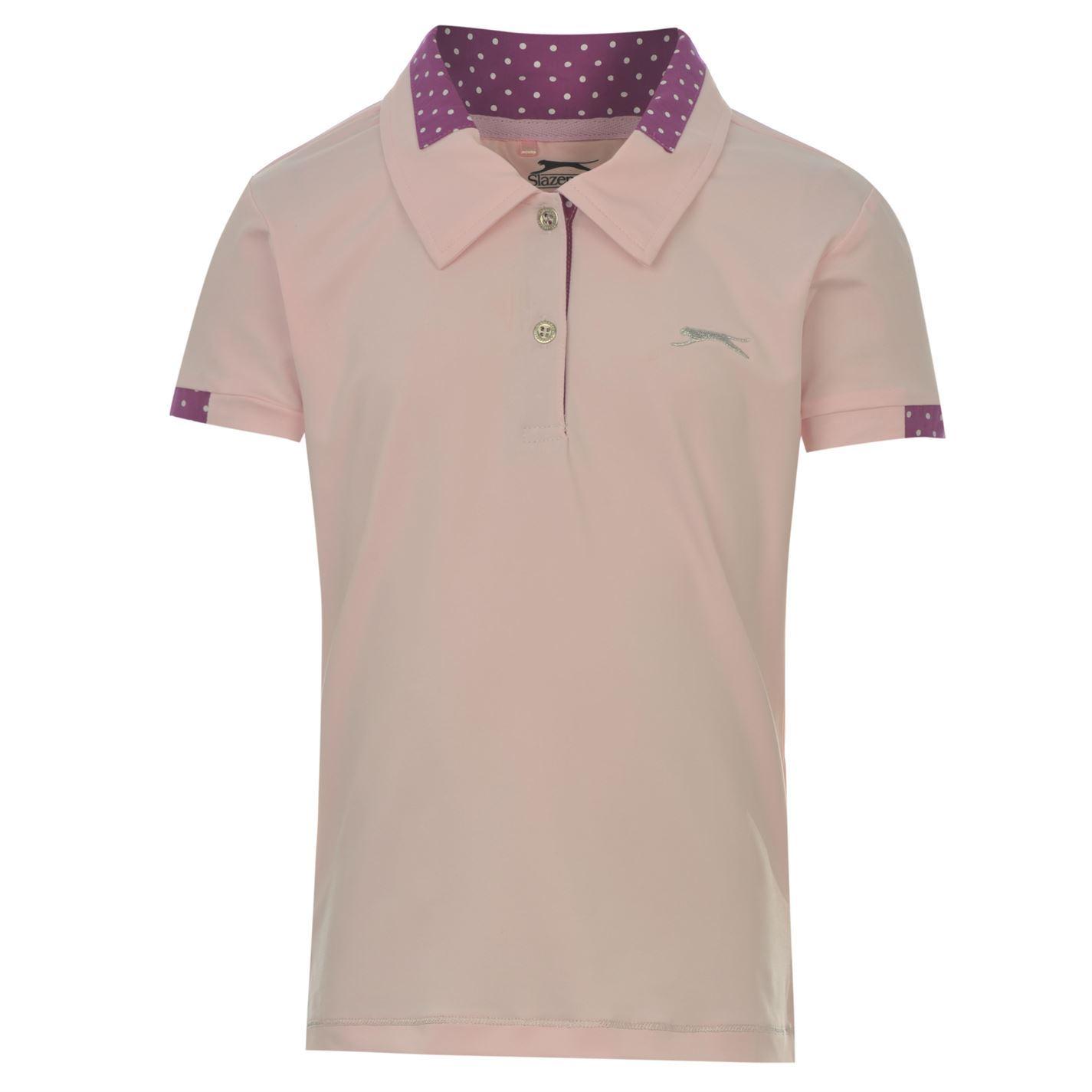 Slazenger Golf Polo Shirt Girls Pink Collared T Shirt Top