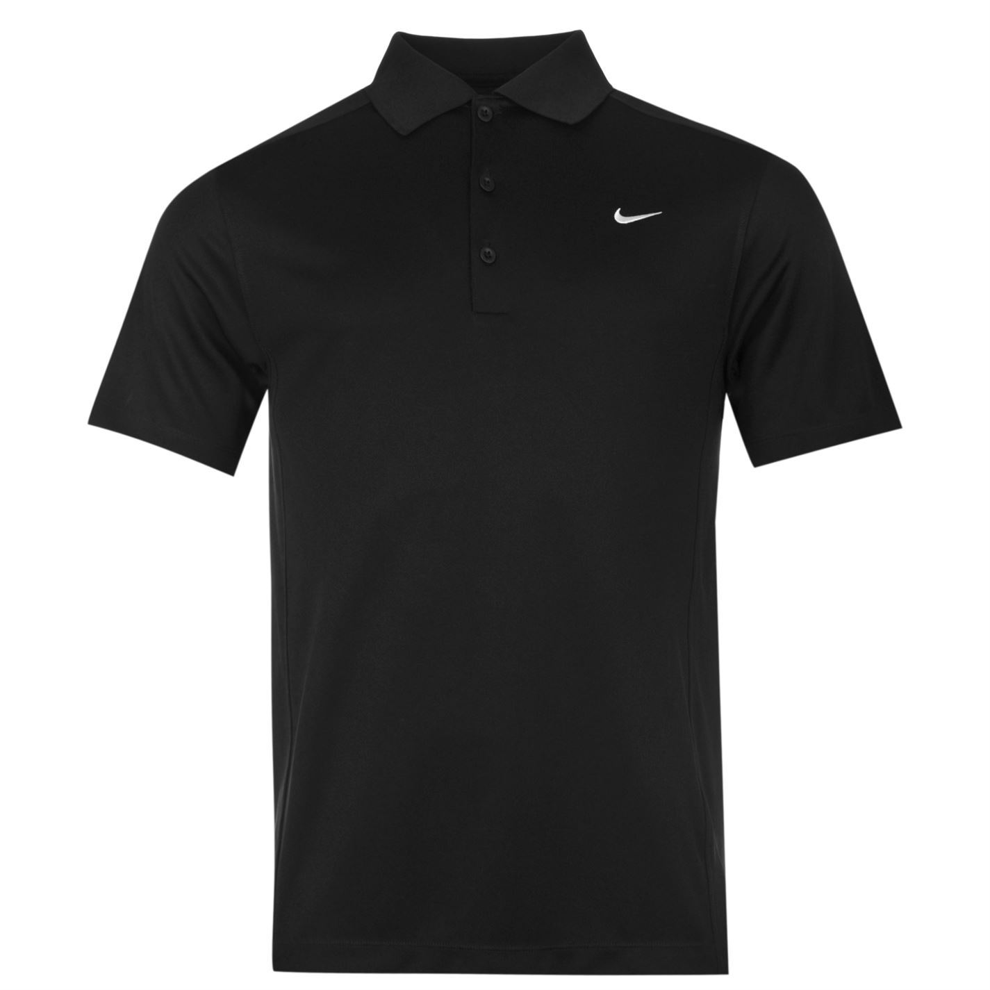 Nike solid golf polo shirt mens black collared t shirt top for Mens collared t shirts