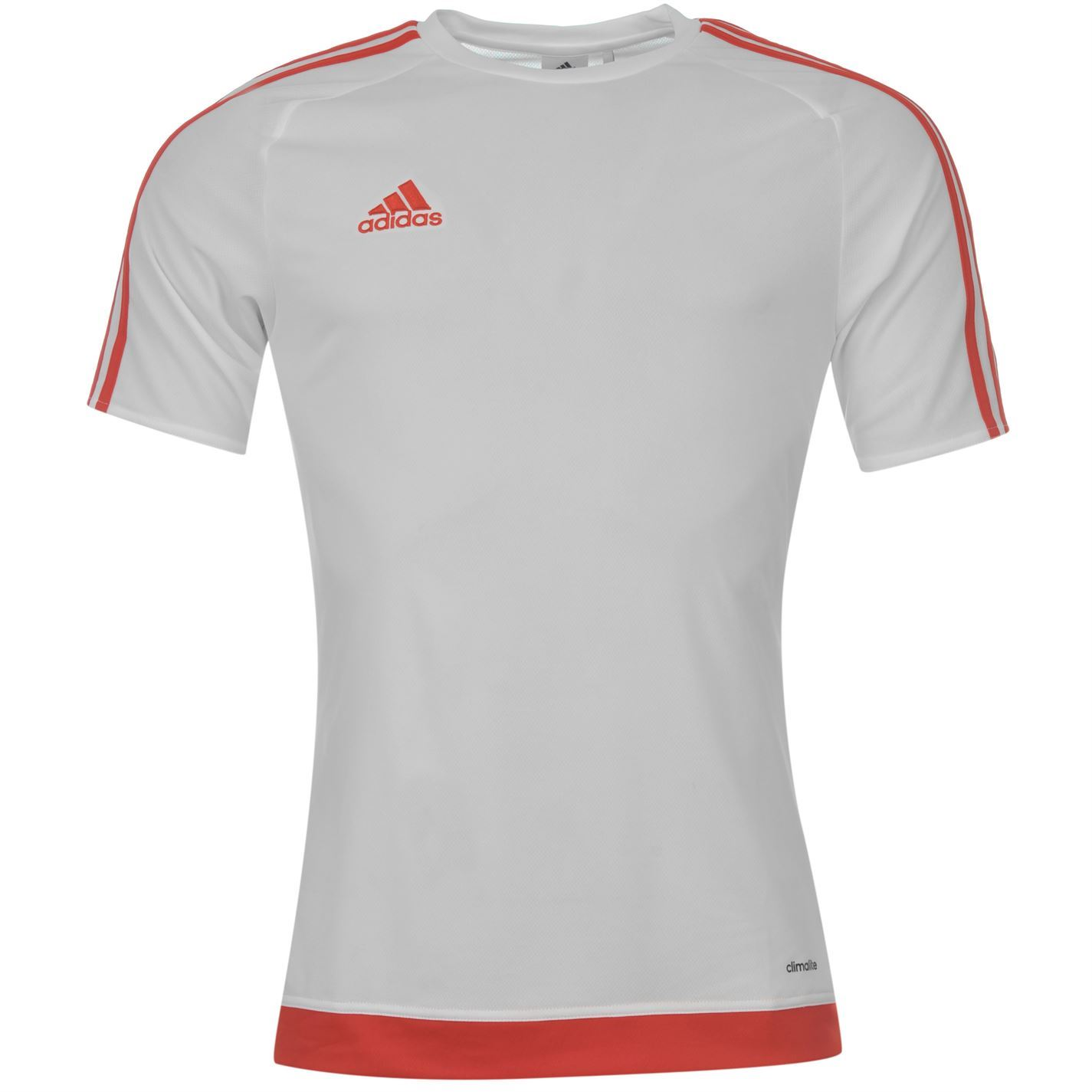 adidas 3 stripe estro climalite t shirt mens white red. Black Bedroom Furniture Sets. Home Design Ideas