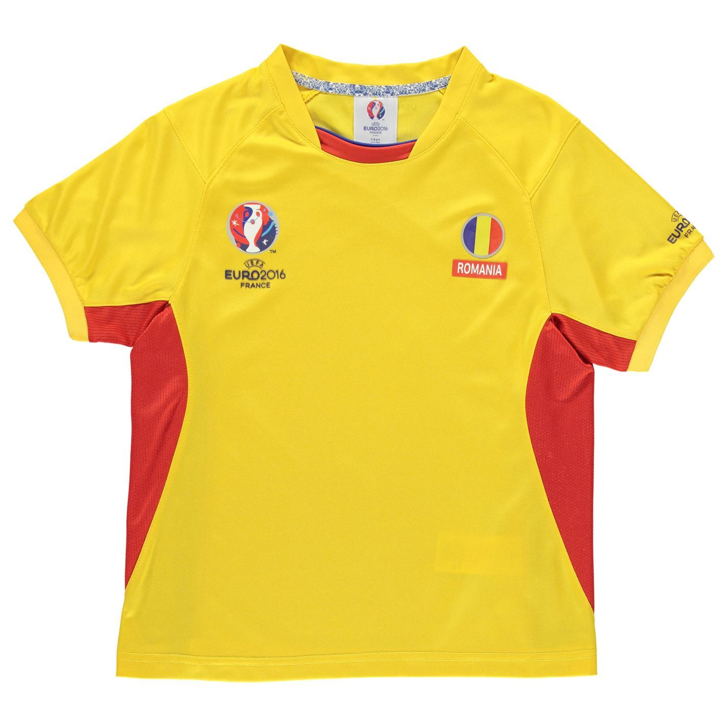 Uefa euro 2016 romania poly t shirt juniors boys yellow for Boys soccer t shirts