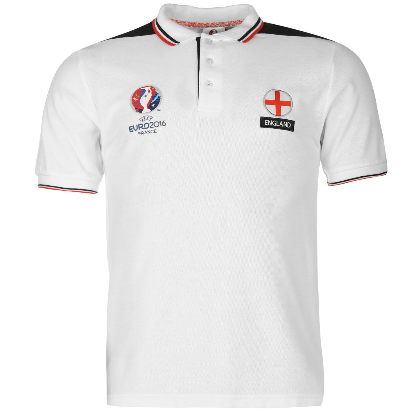 Uefa euro 2016 england polo shirt mens white football for Mens collared t shirts