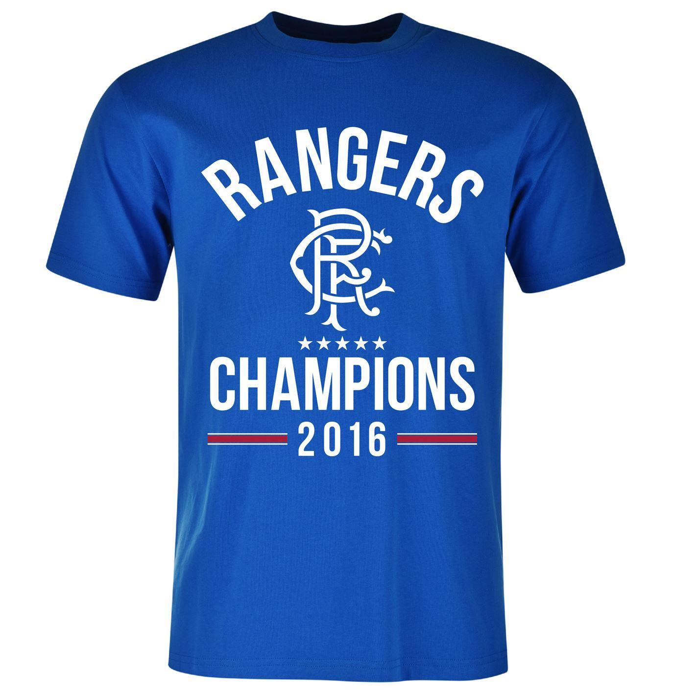 Glasgow Rangers Fc Champions T Shirt Juniors Blue Football