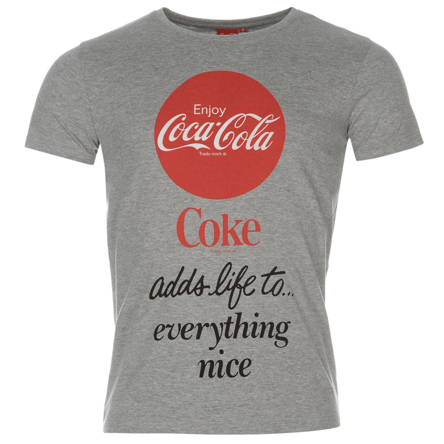 coca cola t shirt mens grey top tee shirt ebay. Black Bedroom Furniture Sets. Home Design Ideas