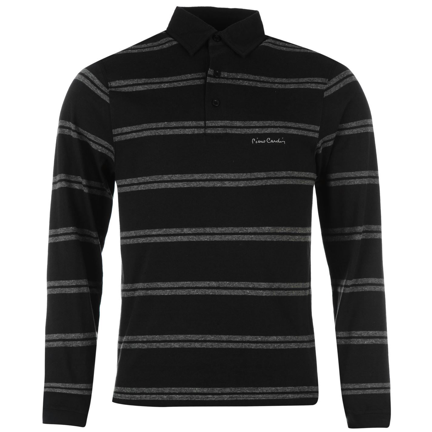 pierre cardin long sleeve polo shirt mens black top t. Black Bedroom Furniture Sets. Home Design Ideas