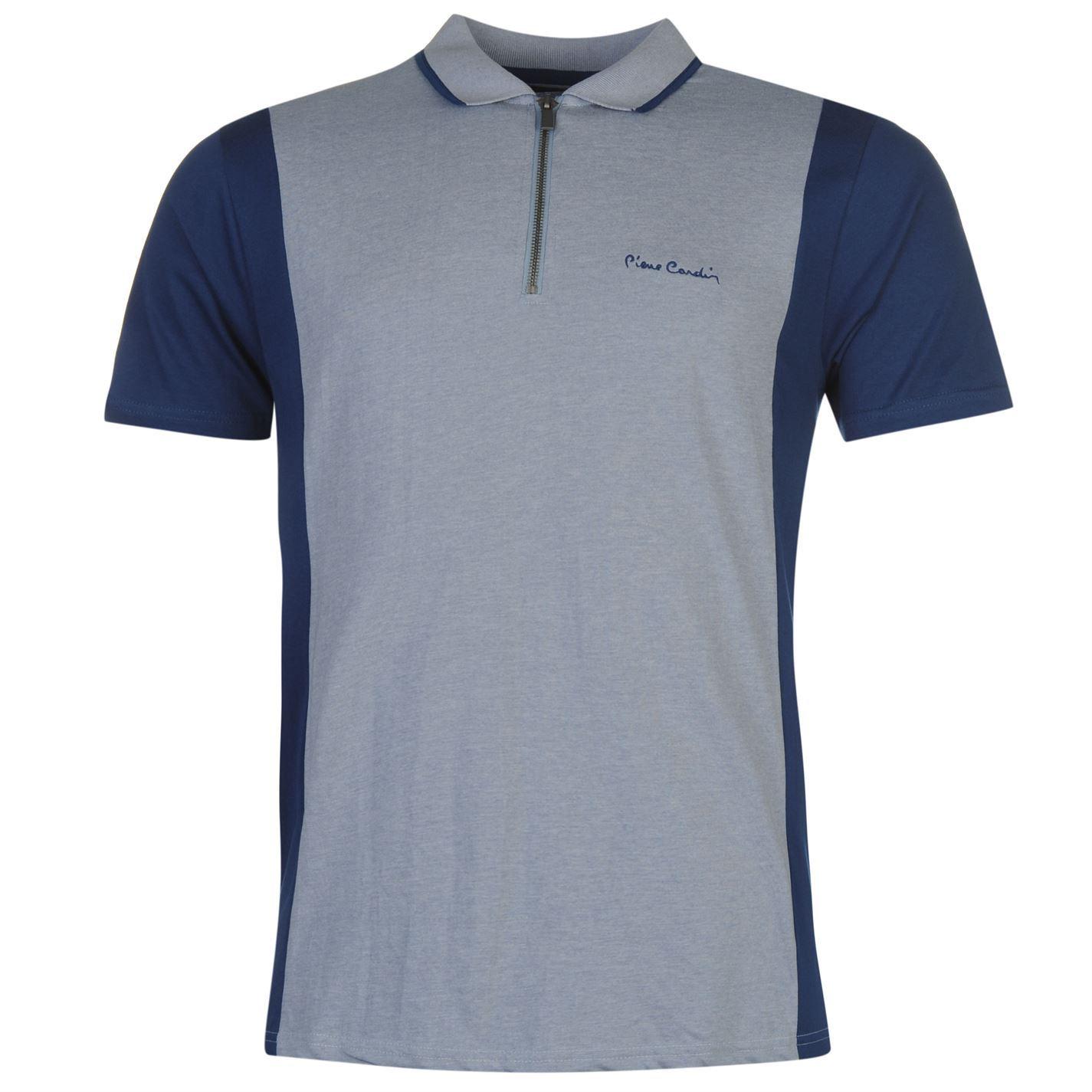 pierre cardin zip neck polo shirt mens denim blue top t. Black Bedroom Furniture Sets. Home Design Ideas