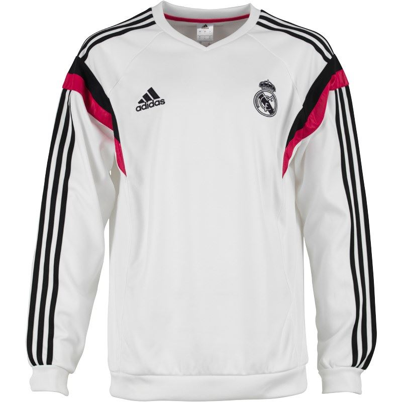 adidas real madrid sweatshirt mens white blk football soccer pullover sweat top ebay. Black Bedroom Furniture Sets. Home Design Ideas