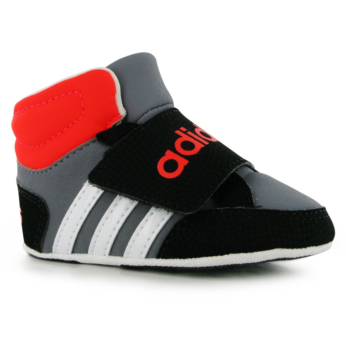 Adidas Hoops Trainers Crib Shoes Infant Baby Gry Wht Red
