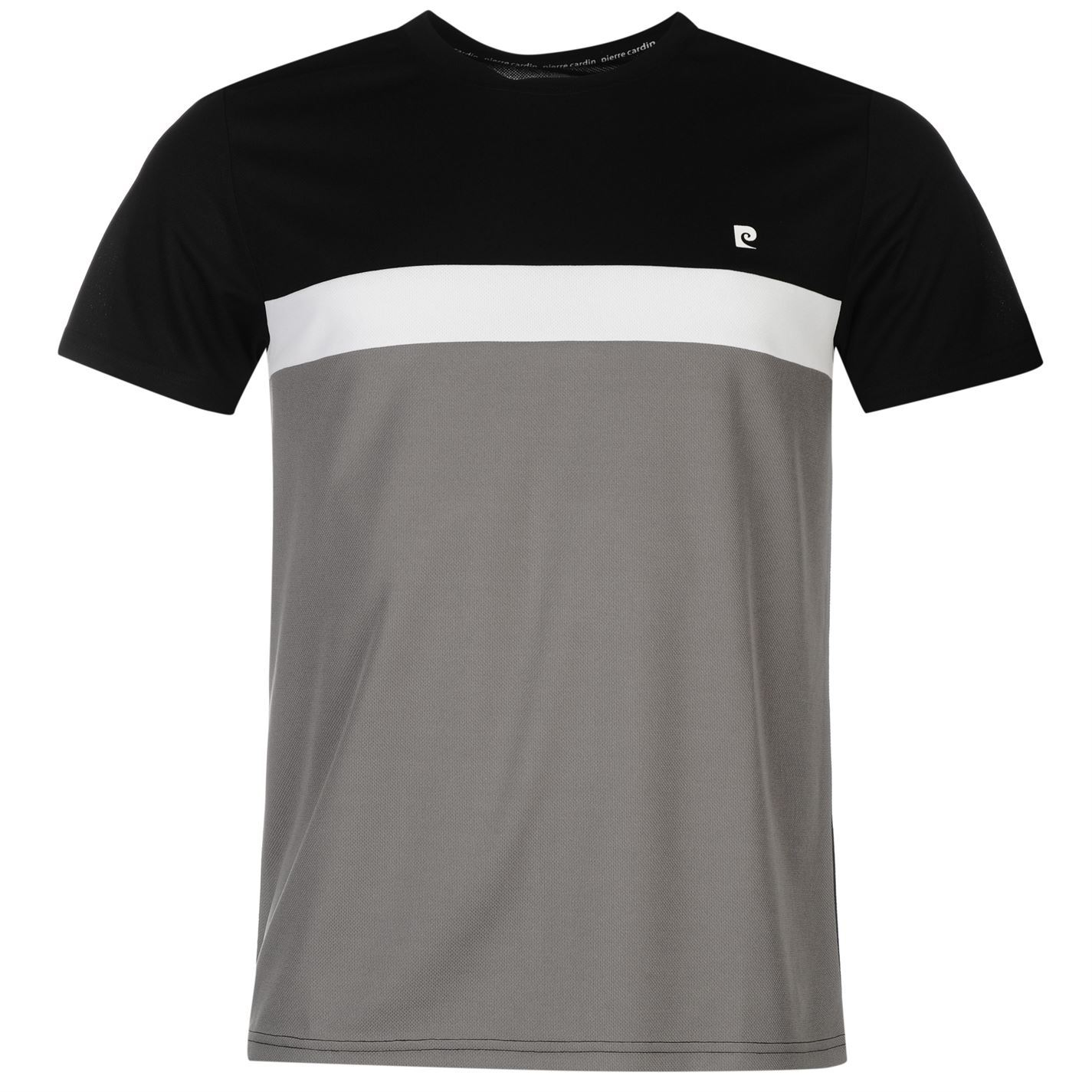 pierre cardin panel t shirt mens black grey top tee shirt. Black Bedroom Furniture Sets. Home Design Ideas