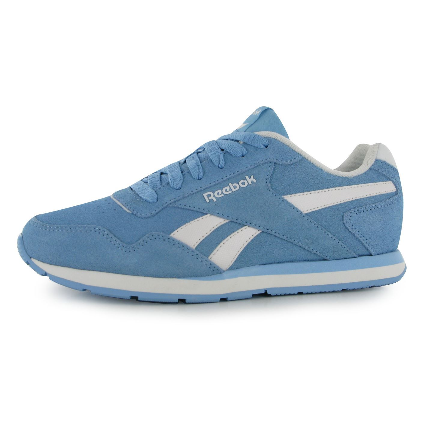 Reebok Glide Suede Trainers Womens BlueWhite Casual Fashion Sneakers Shoes