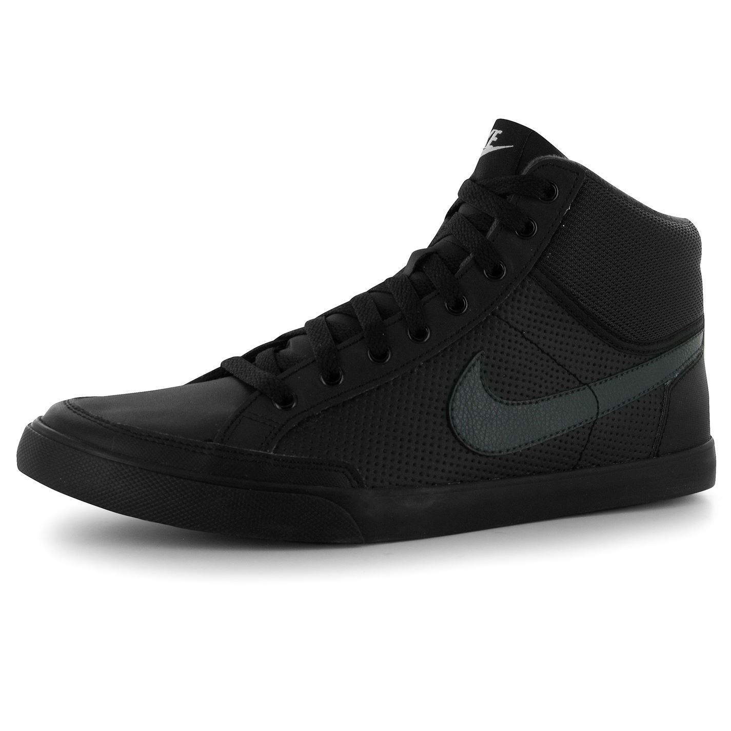 nike 3 leather mens mid top shoes trainers blk gry