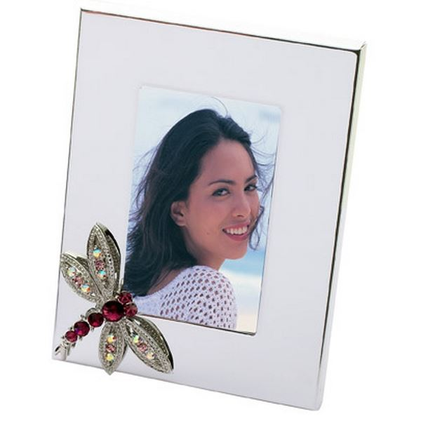 Amethyst Crystal Dragonfly Picture Frame Silver Home Accessory by Lauren Lee