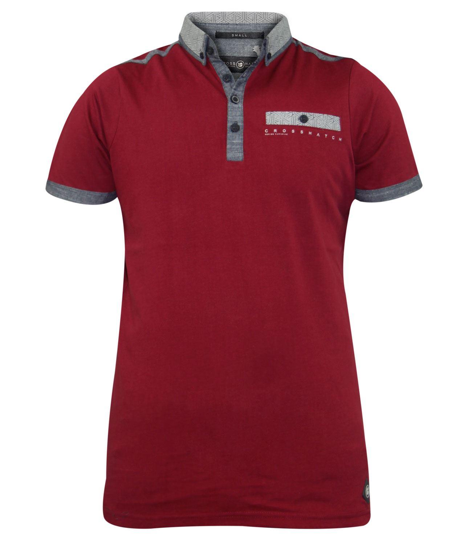 Shirt design with collar - New Mens Crosshatch Collar Designer Cross Print Summer 100 Cotton T Shirt Top Ebay