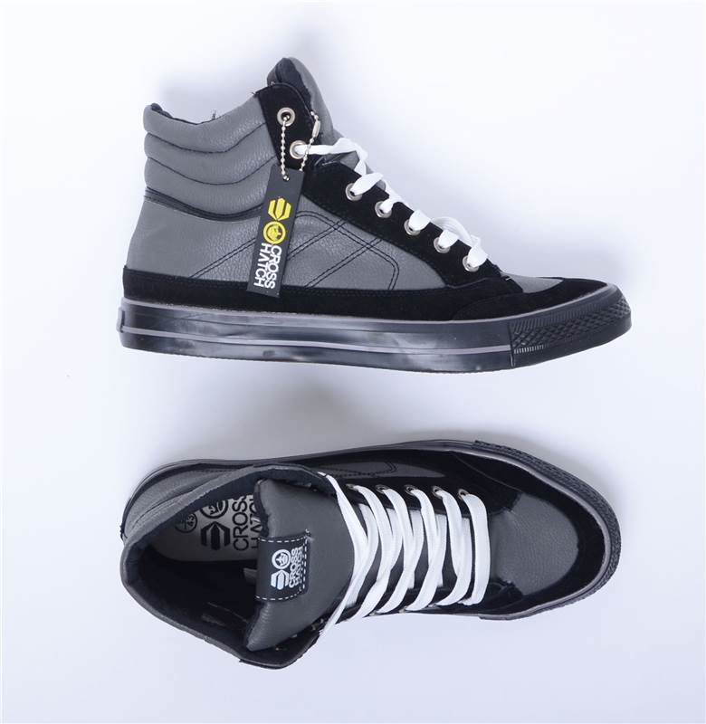 Mens Boys Designer Crosshatch Hi Top Sneakers Pumps Ankle Lace Up High Shoes