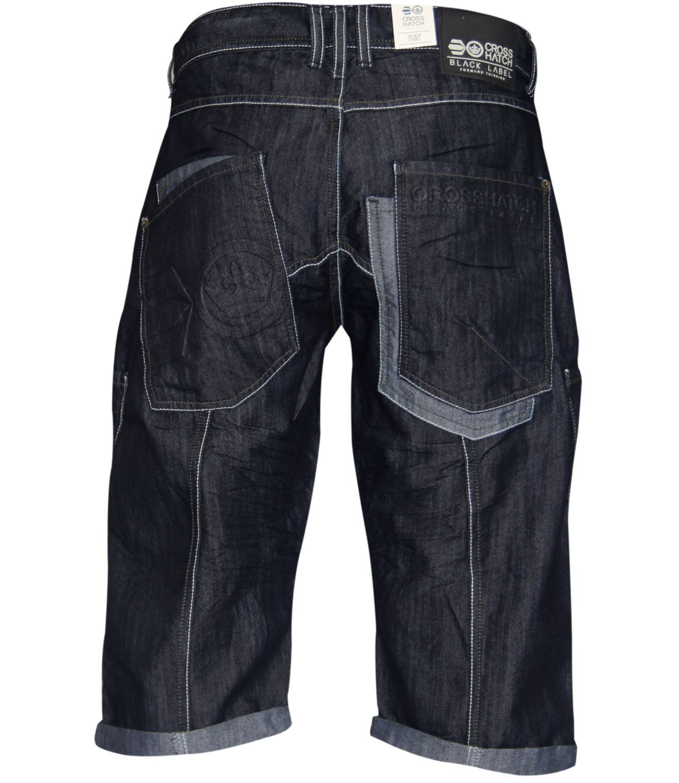 New Mens Designer Crosshatch Jeans Branded Three Quarter Denim Embossed Shorts Ebay