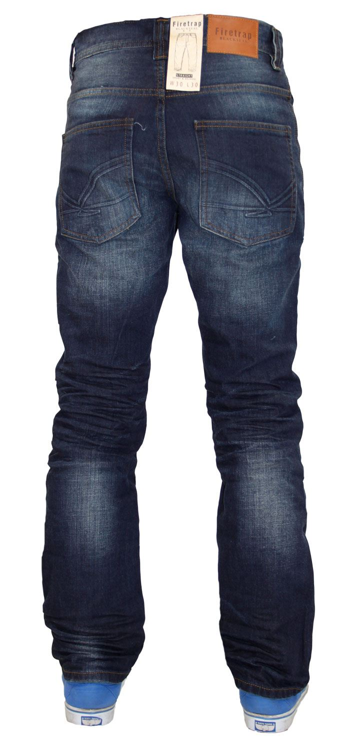 New Mens Designer Firetrap Jeans 100% Cotton Straight Leg Fit Denim Pants | eBay