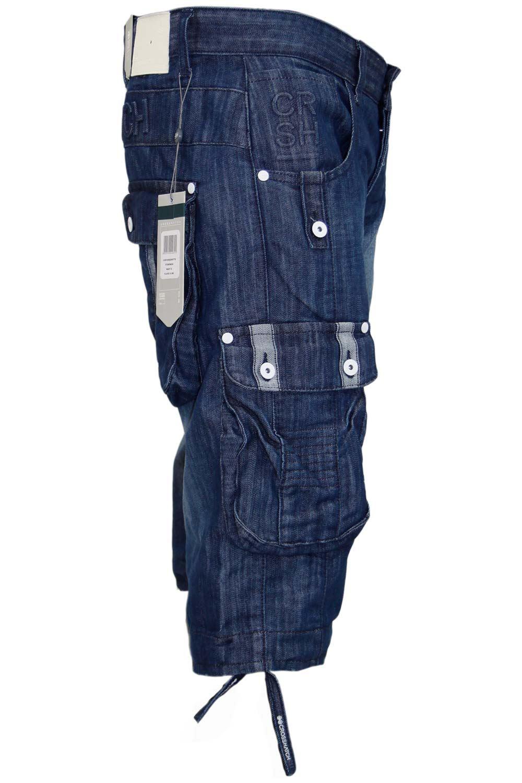 New Mens Designer Crosshatch Cargo Denim Jeans Three Quarter Bermuda Shorts Ebay