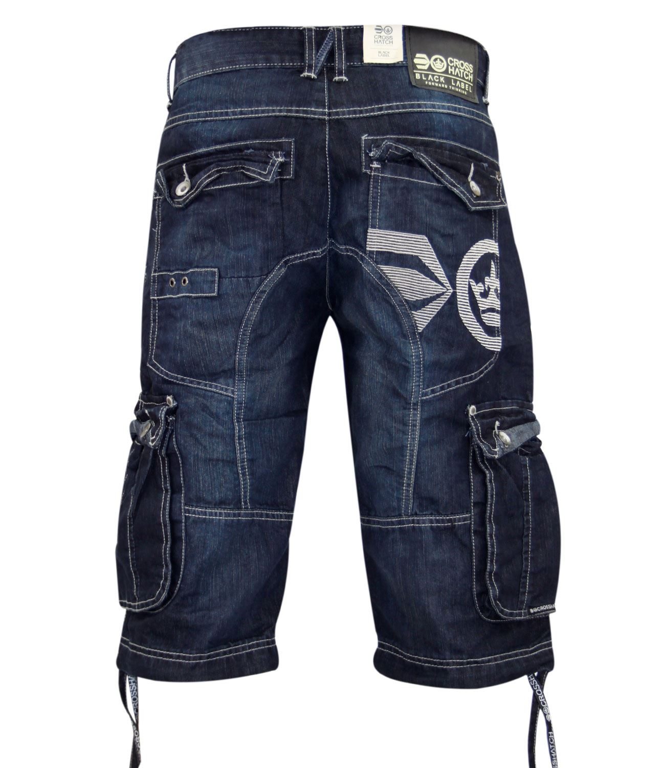 New Mens Crosshatch Branded Jeans Cargo Combat Three Quarter Denim ...