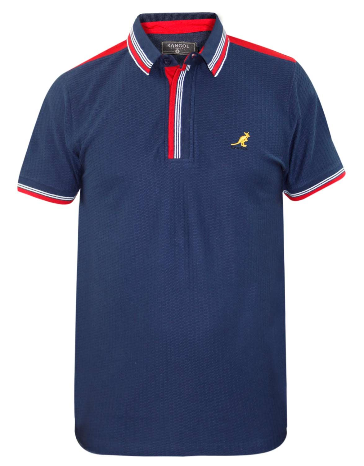 New mens kangol brand polo t shirt contrasted designer top for Top designer t shirt brands