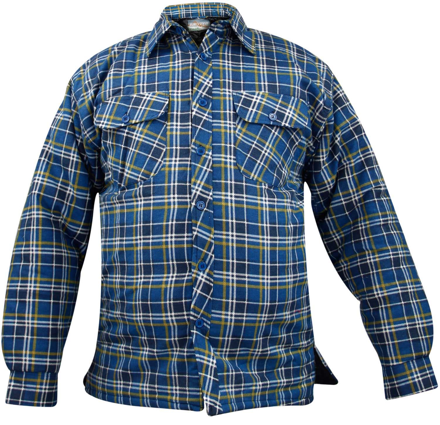 Mens quilted lined padded lumberjack check flannel winter for Mens padded lumberjack shirt