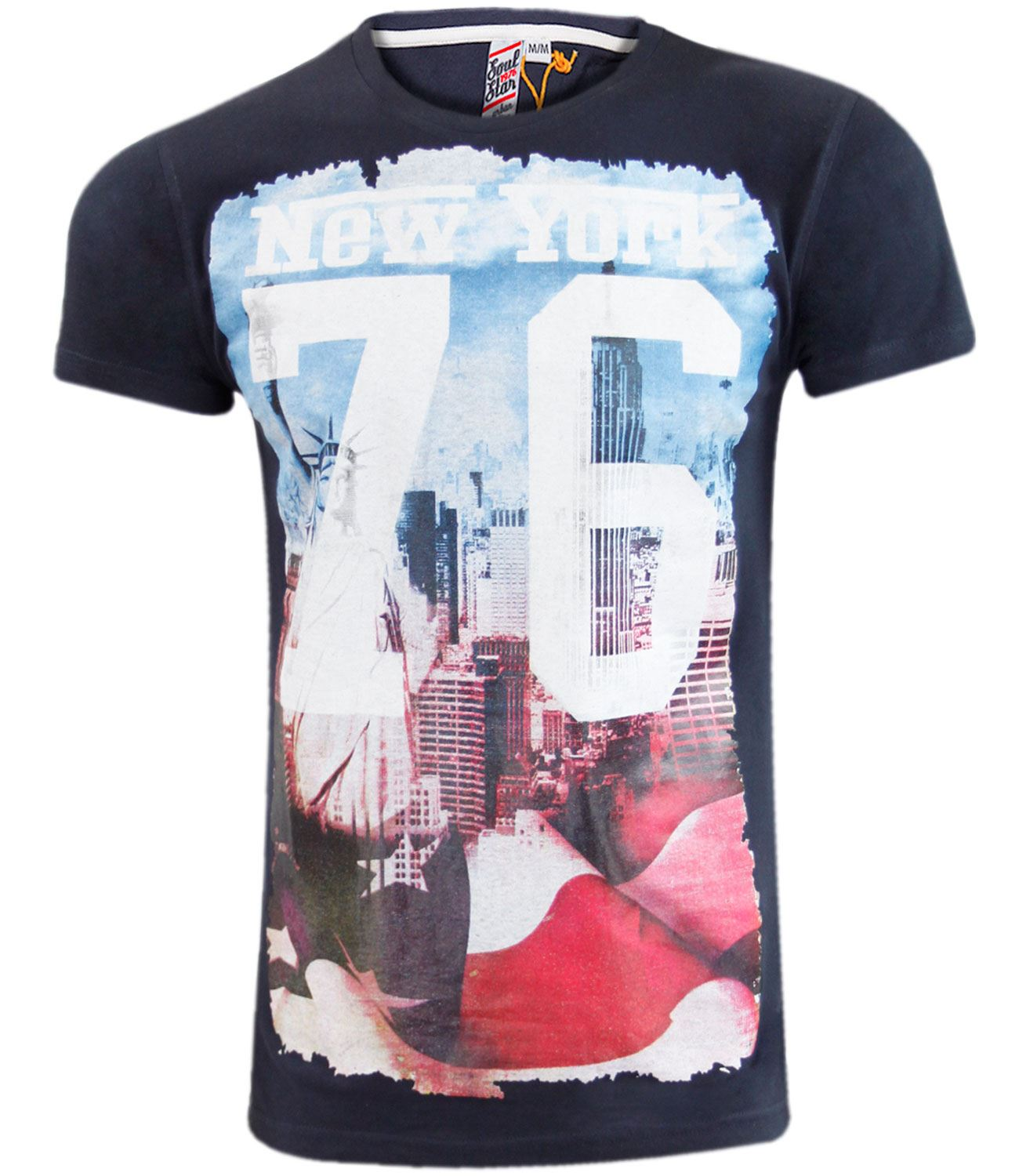Mens soul star cotton top printed new york t shirt casual for New york printed t shirts