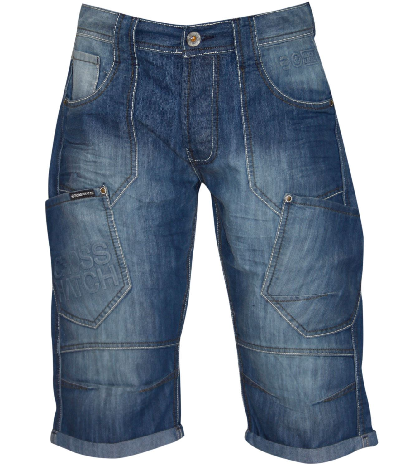 New Mens Designer Crosshatch Jeans Branded Three Quarter Denim ...