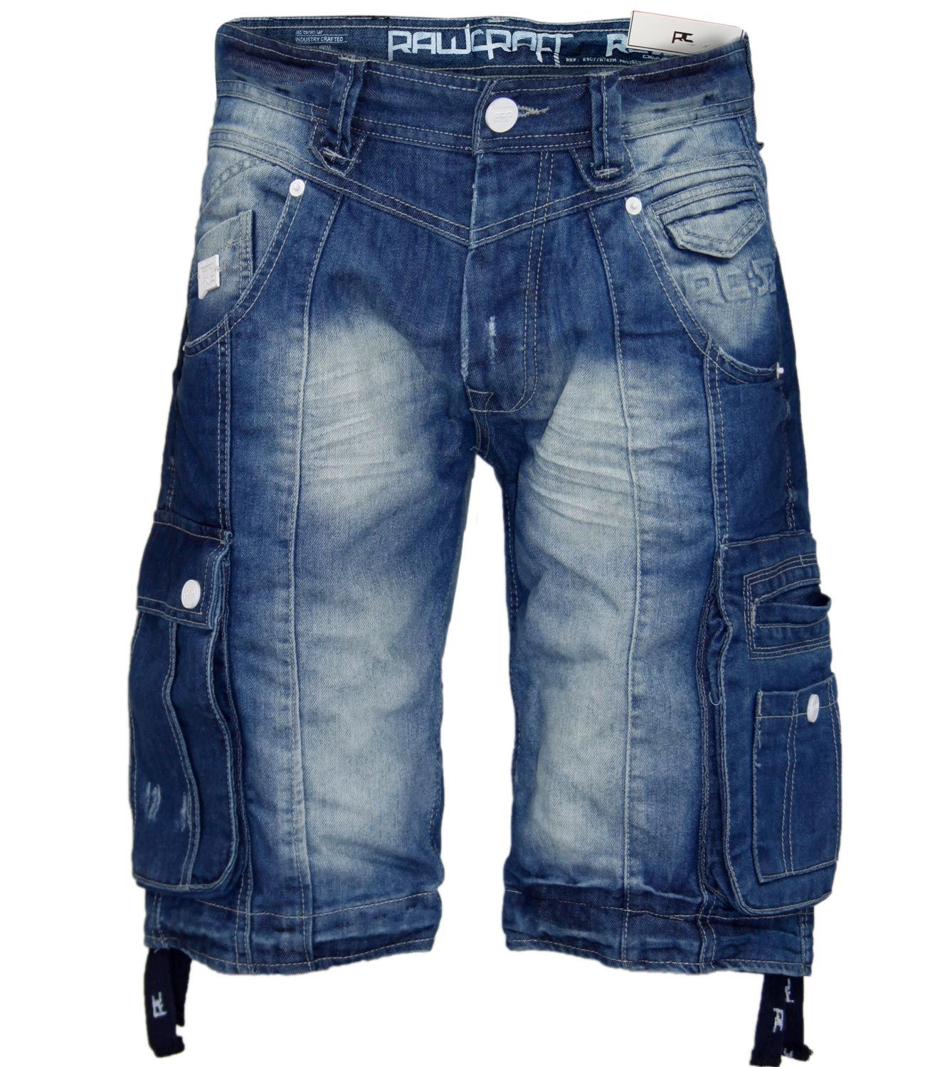 Mens Designer Rawcraft Denim Cargo Combat Three Quarter Bermuda ...