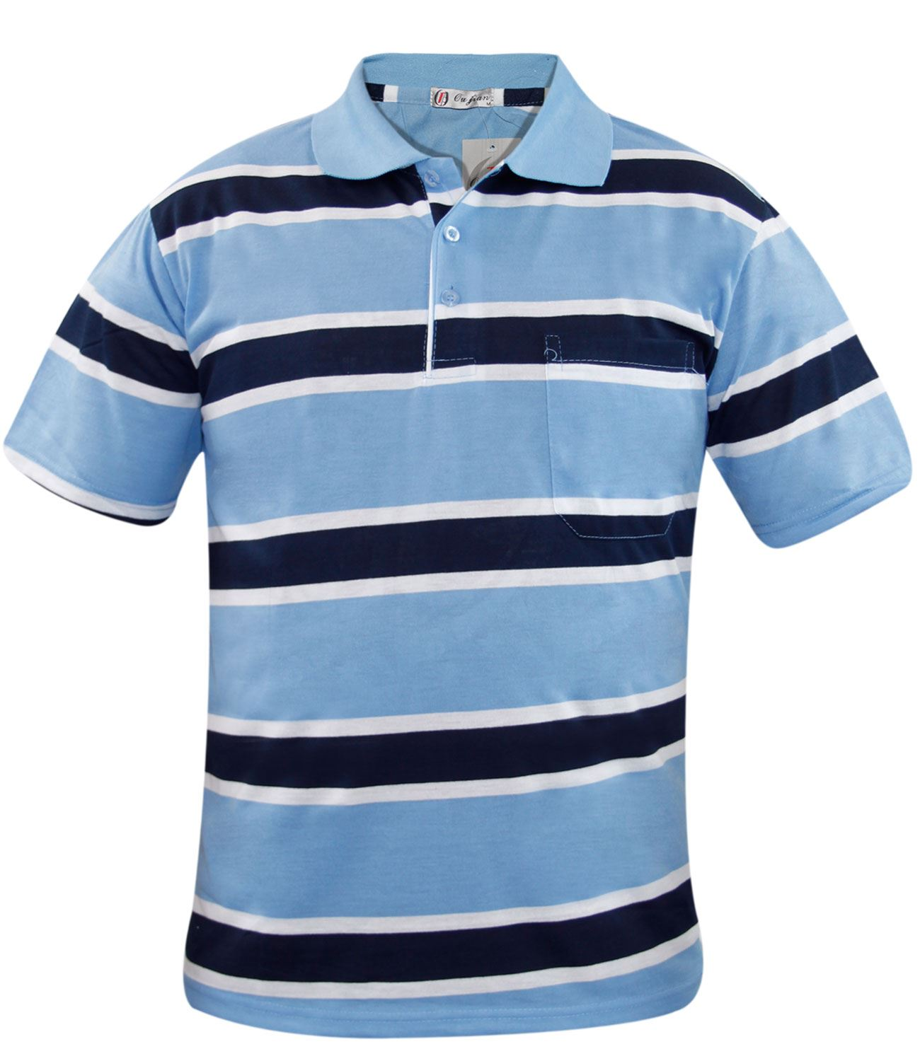 New mens yarn dyed stripe polo short sleeve pocket t shirt for Polo t shirts with pocket online