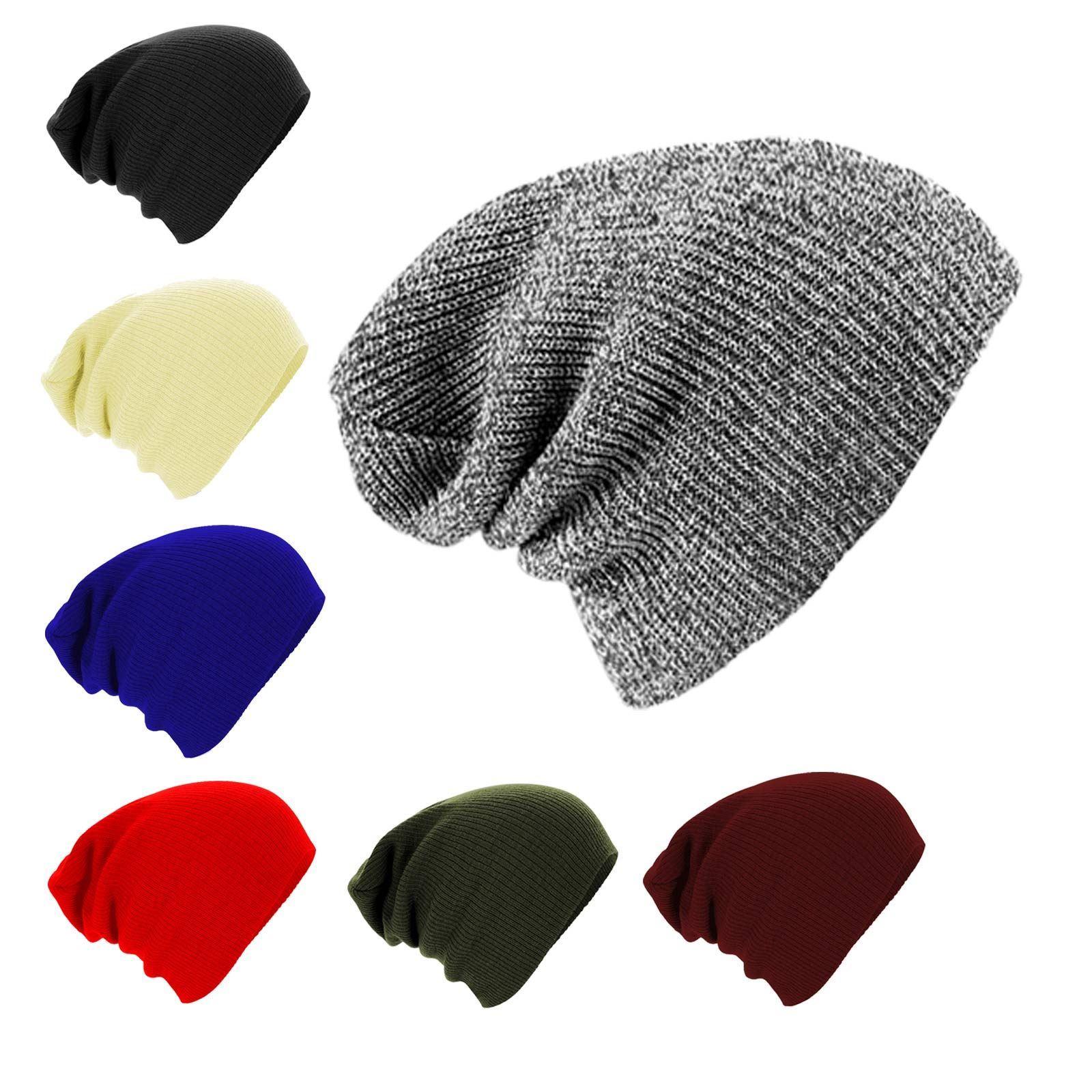 Knitting Pattern Floppy Beanie : Unisex Men Women Knitted Floppy Slouch Beanie Hat Chunky ...