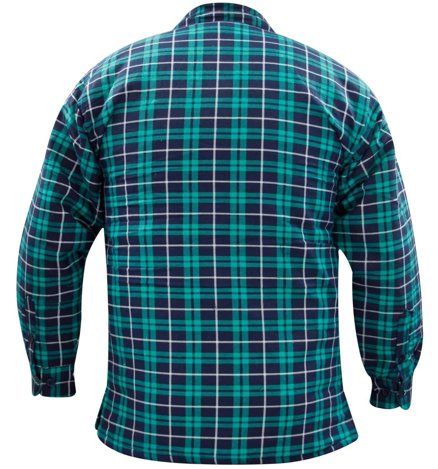 Mens quilted lined padded lumberjack check flannel winter for Mens xl flannel shirts