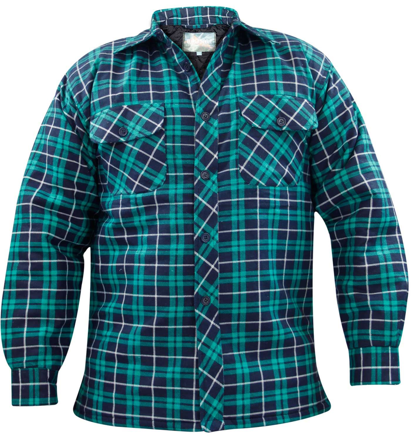 Mens quilted lined padded lumberjack check flannel hiver for Mens insulated flannel shirts