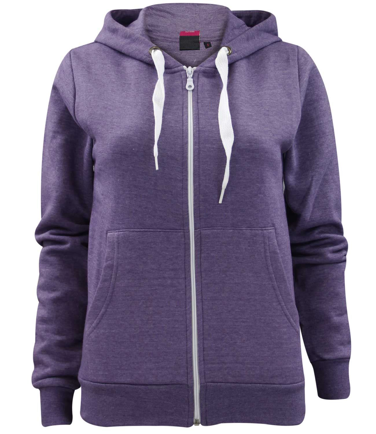 New Ladies Girls Plain Zip Up Hoodie Sweatshirt Women Fleece ...