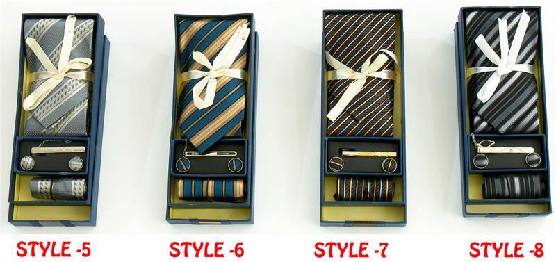 Herren Jungen Geschenk Set 100% Seiden Krawatte, Krawattennadel, Taschentuch
