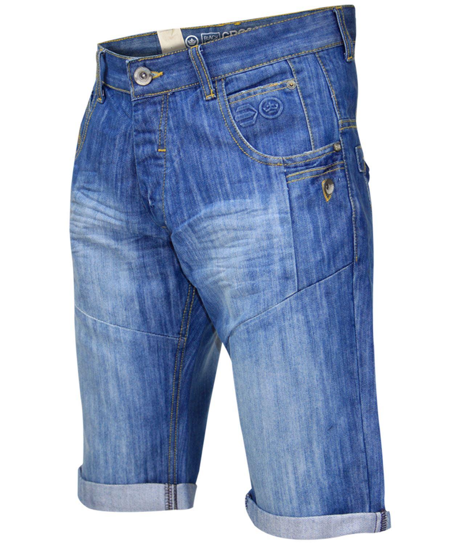 New Mens Designer Crosshatch Turn Up Denim Three Quarter Long ...