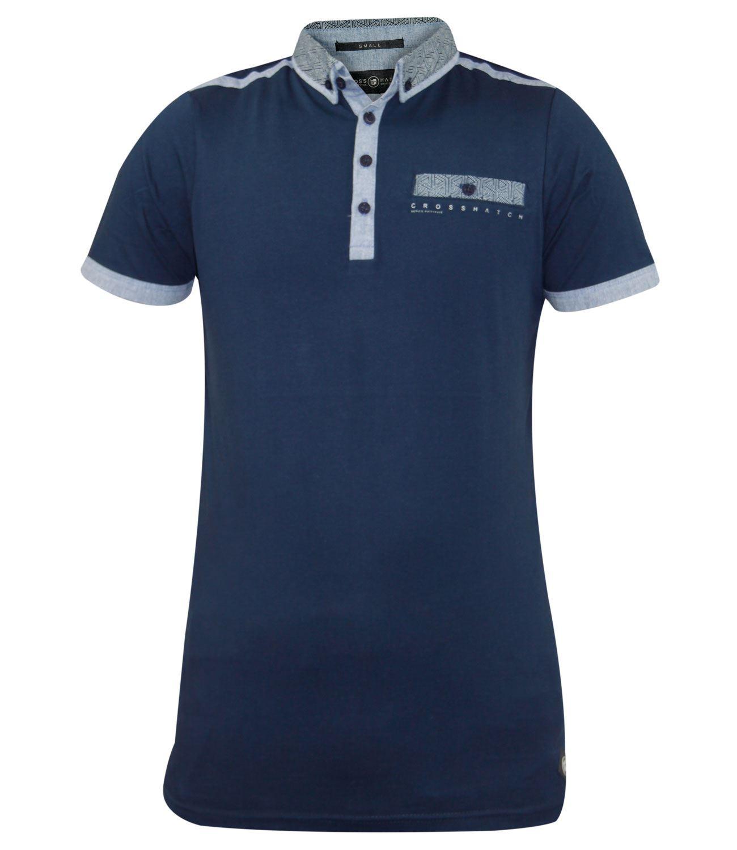 Shirt design with collar - New Mens Crosshatch Collar Designer Cross Print Summer 100 Cotton T Shirt Top