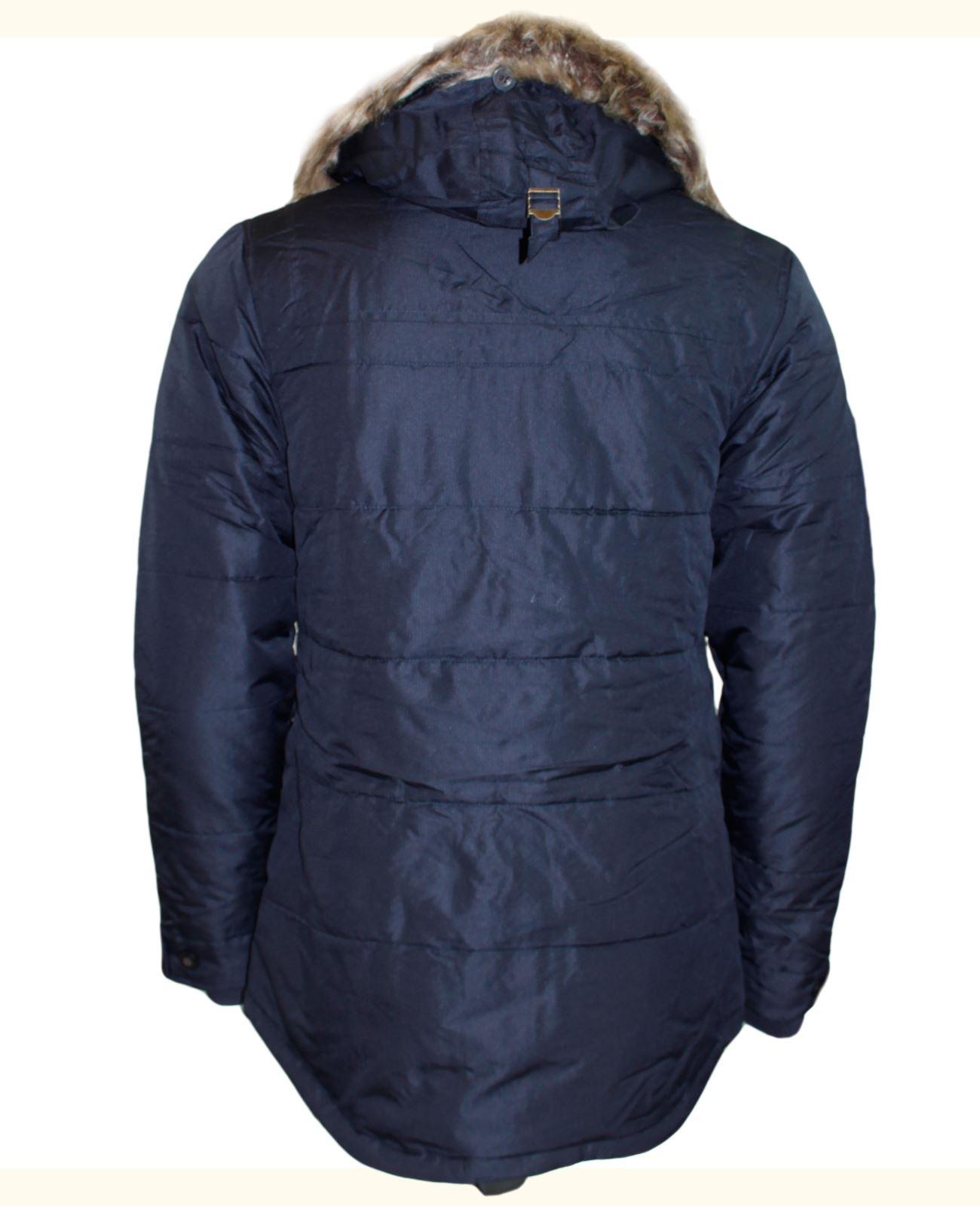 New Mens Slazenger Designer Parka Jacket Zip Button Fur Trim Hood Winter Coat