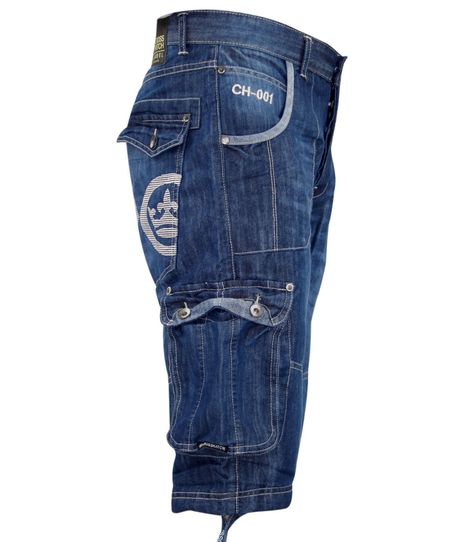 New Mens Crosshatch Branded Jeans Cargo Combat Three Quarter Denim ...