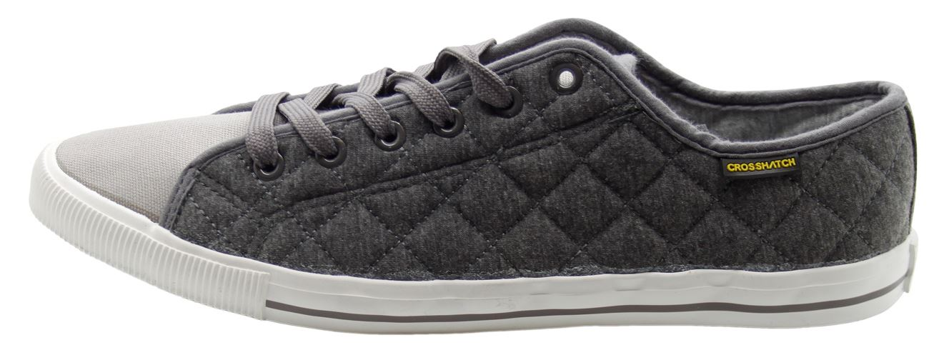 mens new crosshatch designer canvas sneakers lace shoes