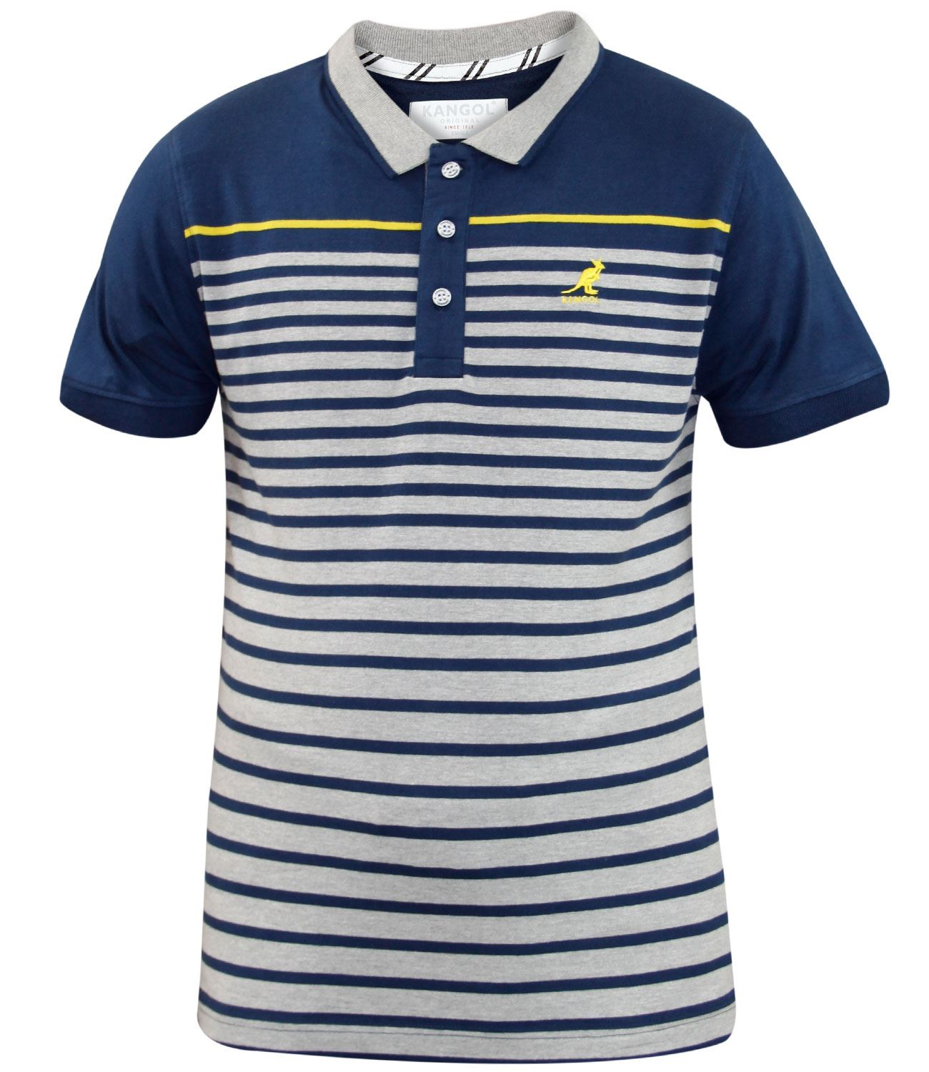 New mens kangol branded yarn dyed stripe polo t shirt for Cheap polo collar shirts
