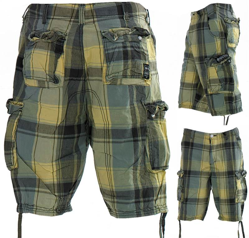 Mens Designer Crosshatch Check Cotton Cargo Combat Beach Sports 3 ...