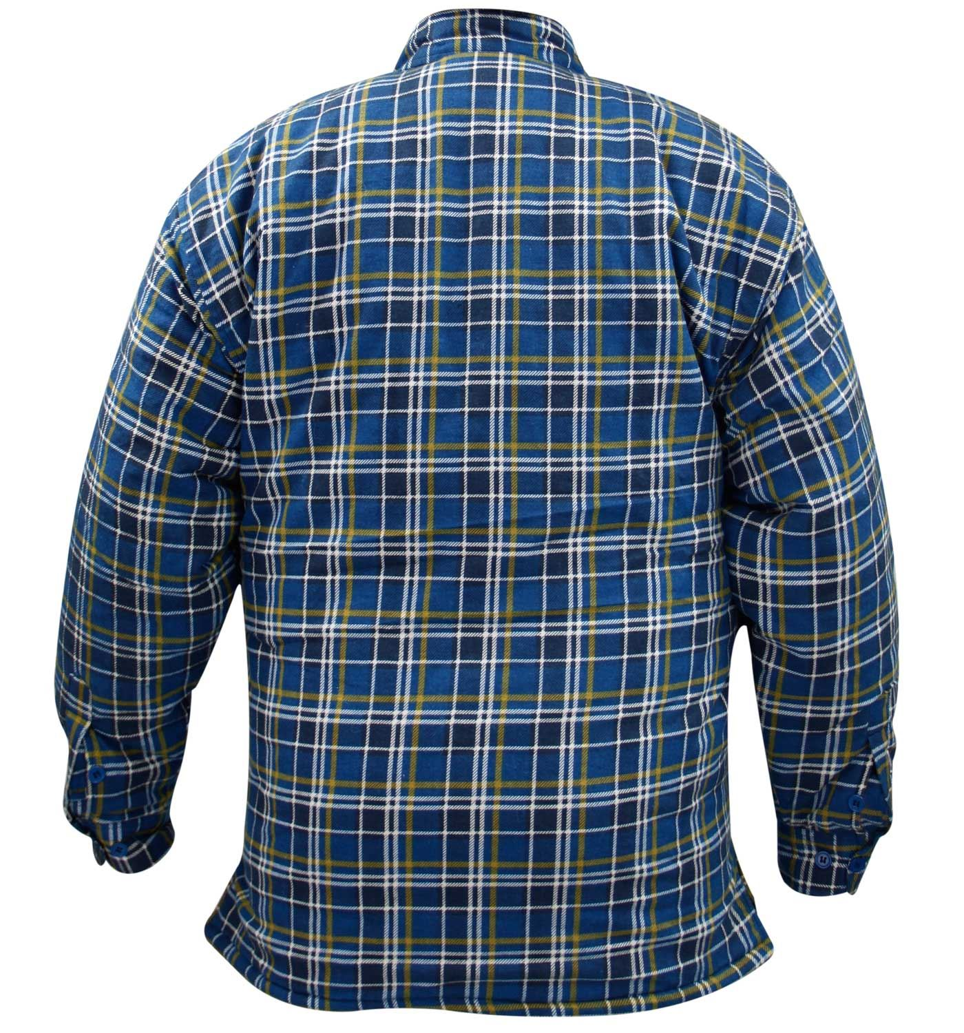 Mens quilted lined padded lumberjack check flannel winter for Mens insulated flannel shirts