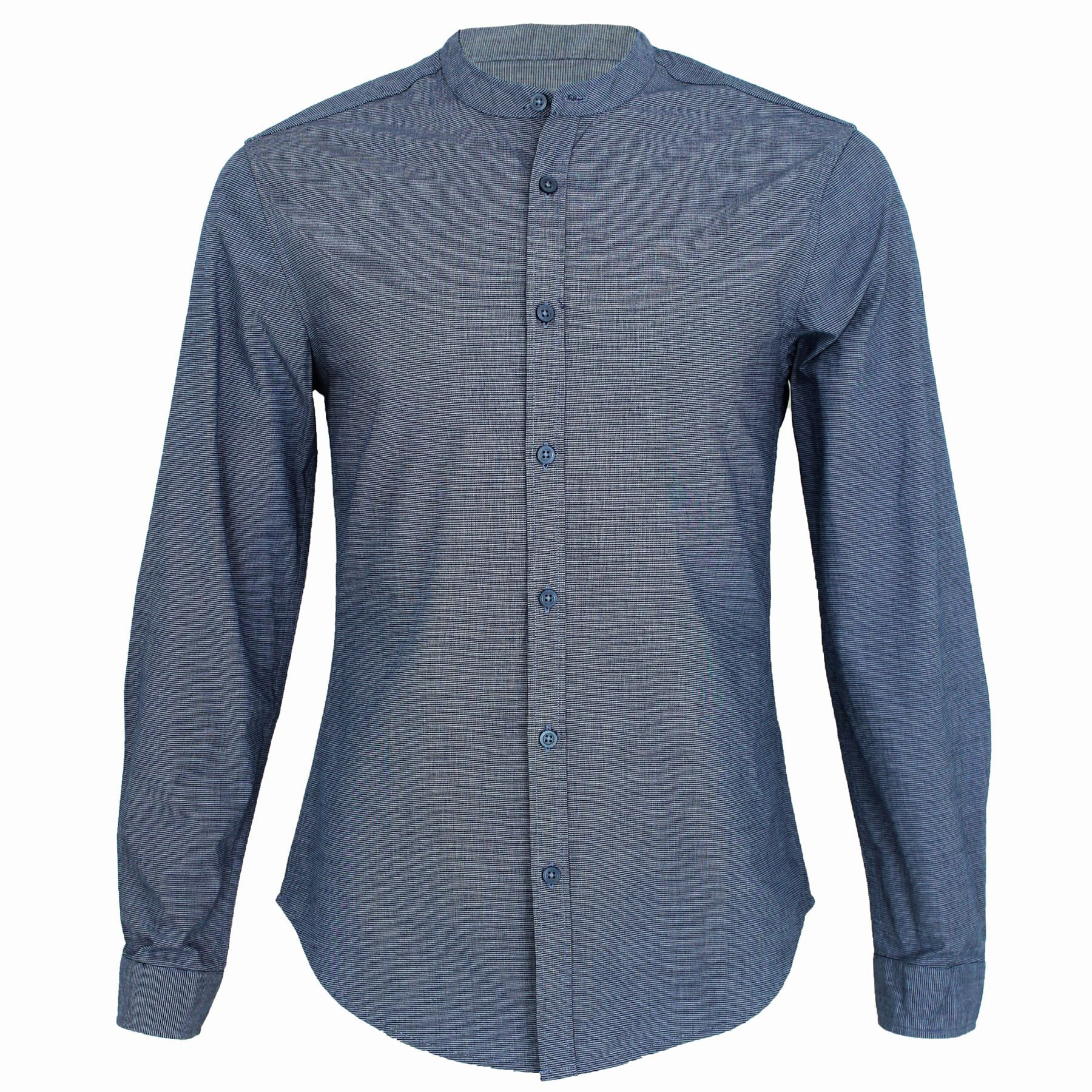 Mens threadbare long sleeve regular fit striped grandad Mens grandad collar shirt