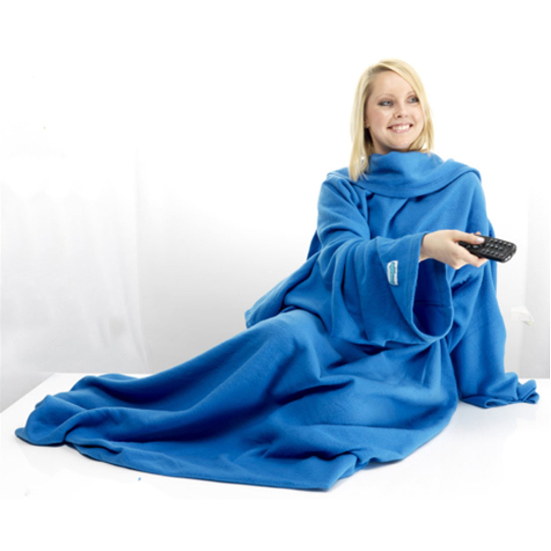 snuggie sleeved fleece blanket robe cloak warm soft blue. Black Bedroom Furniture Sets. Home Design Ideas
